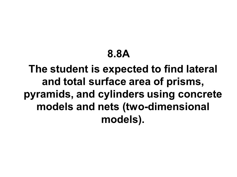 8.8A The student is expected to find lateral and total surface area of prisms, pyramids, and cylinders using concrete models and nets (two-dimensional
