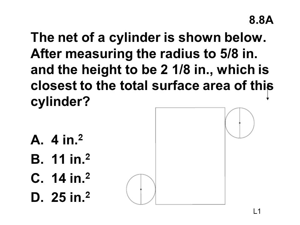 8.8A The net of a cylinder is shown below. After measuring the radius to 5/8 in. and the height to be 2 1/8 in., which is closest to the total surface