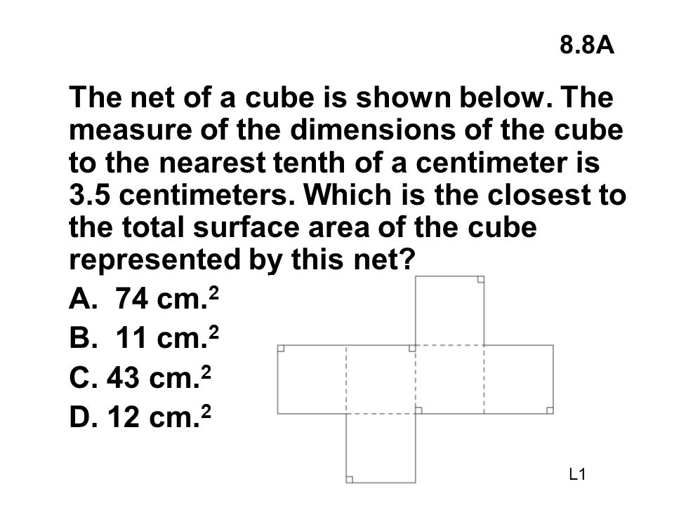 8.8A The net of a cube is shown below. The measure of the dimensions of the cube to the nearest tenth of a centimeter is 3.5 centimeters. Which is the