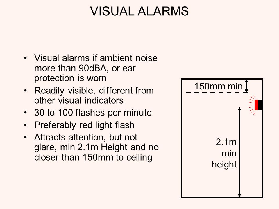VISUAL ALARMS Visual alarms if ambient noise more than 90dBA, or ear protection is worn Readily visible, different from other visual indicators 30 to