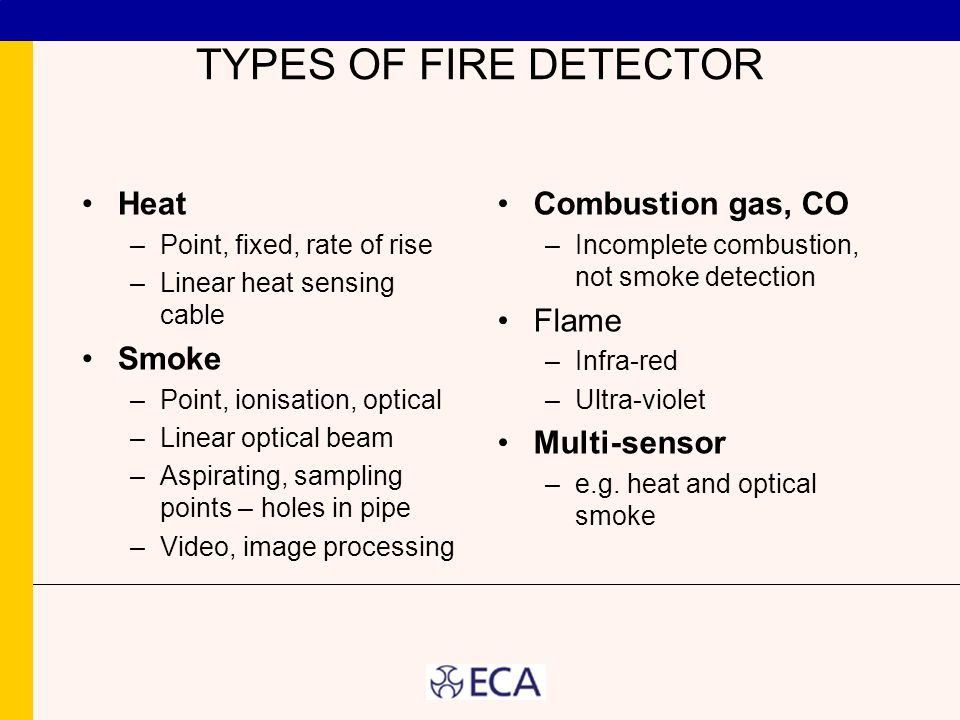 TYPES OF FIRE DETECTOR Heat –Point, fixed, rate of rise –Linear heat sensing cable Smoke –Point, ionisation, optical –Linear optical beam –Aspirating, sampling points – holes in pipe –Video, image processing Combustion gas, CO –Incomplete combustion, not smoke detection Flame –Infra-red –Ultra-violet Multi-sensor –e.g.