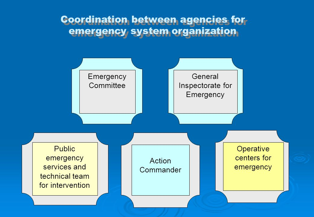 Coordination between agencies for emergency system organization Action Commander Operative centers for emergency Emergency Committee Public emergency services and technical team for intervention General Inspectorate for Emergency