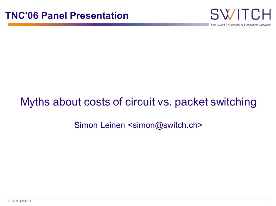 2006 © SWITCH 1 TNC 06 Panel Presentation Myths about costs of circuit vs.