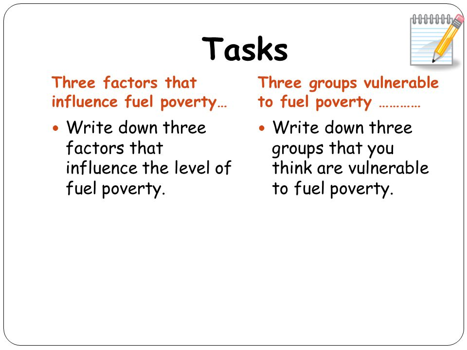 Tasks Three factors that influence fuel poverty… Three groups vulnerable to fuel poverty ………… Write down three factors that influence the level of fuel poverty.