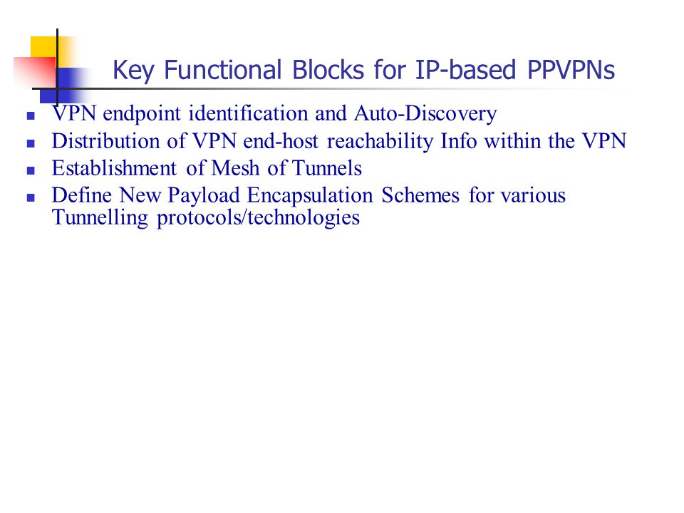 Key Functional Blocks for IP-based PPVPNs VPN endpoint identification and Auto-Discovery Distribution of VPN end-host reachability Info within the VPN Establishment of Mesh of Tunnels Define New Payload Encapsulation Schemes for various Tunnelling protocols/technologies