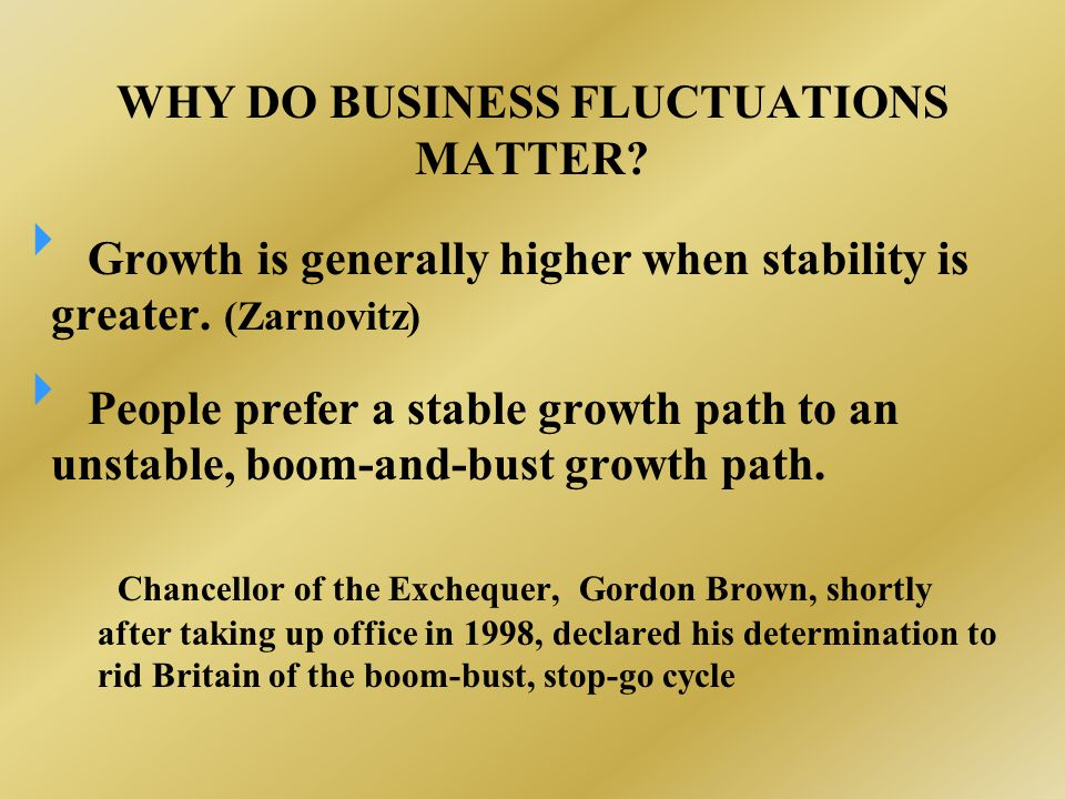 WHY DO BUSINESS FLUCTUATIONS MATTER.  Growth is generally higher when stability is greater.