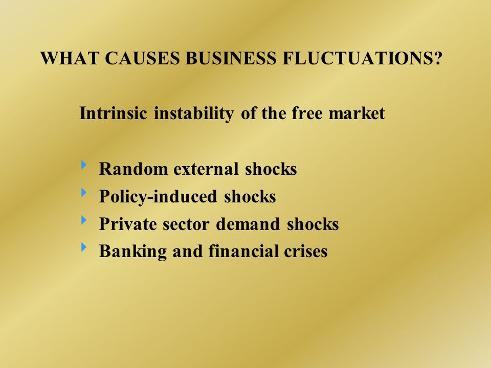 WHAT CAUSES BUSINESS FLUCTUATIONS? Intrinsic instability of the free market  Random external shocks  Policy-induced shocks  Private sector demand s