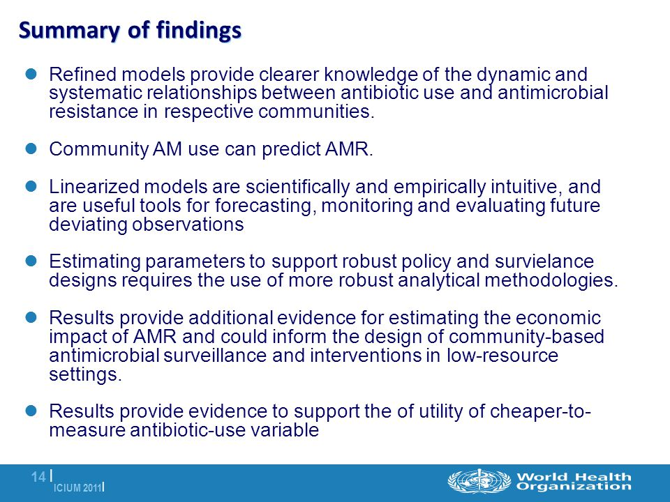ICIUM 2011 | 14 | Summary of findings Refined models provide clearer knowledge of the dynamic and systematic relationships between antibiotic use and antimicrobial resistance in respective communities.