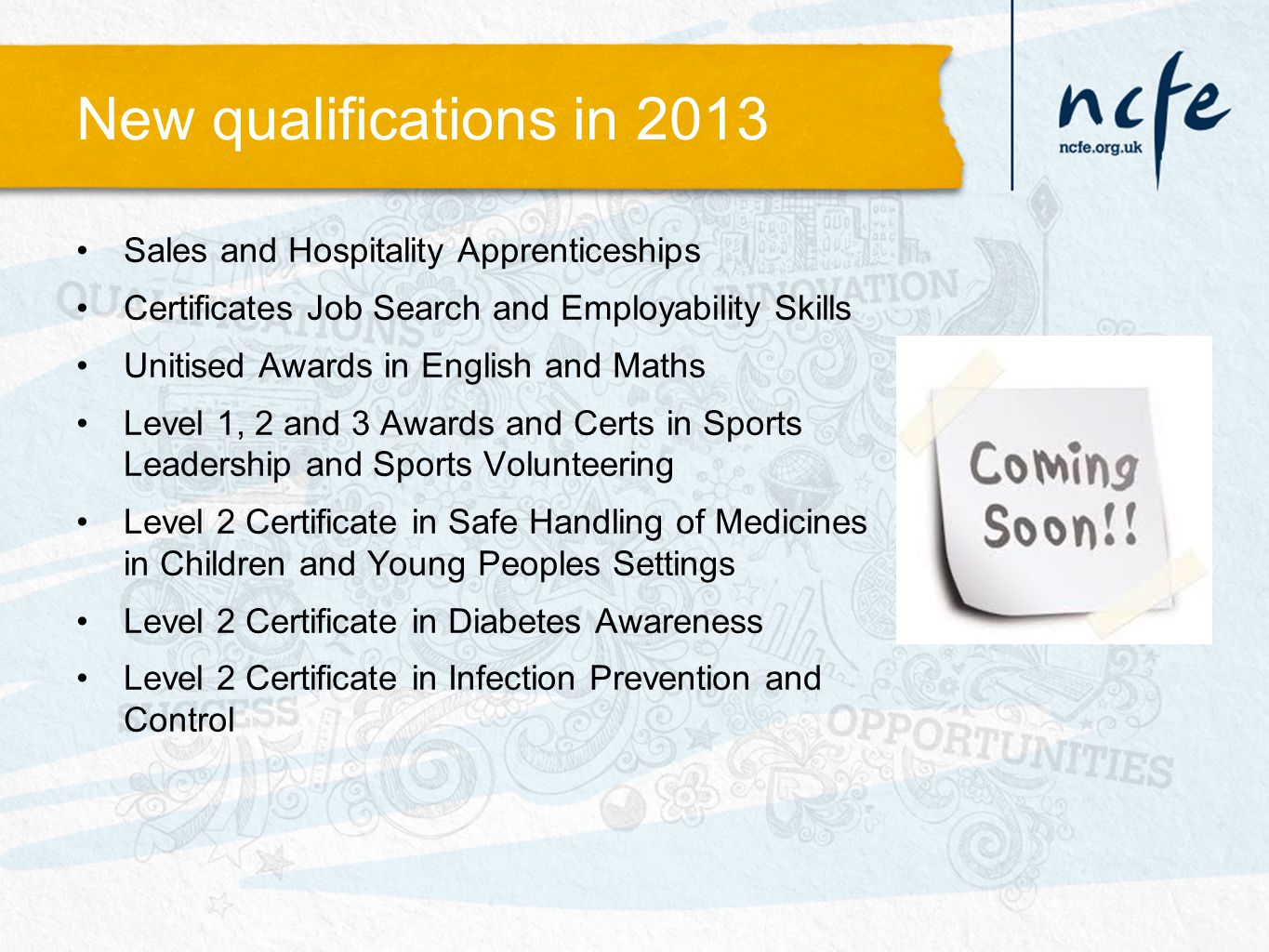 New qualifications in 2013 Sales and Hospitality Apprenticeships Certificates Job Search and Employability Skills Unitised Awards in English and Maths