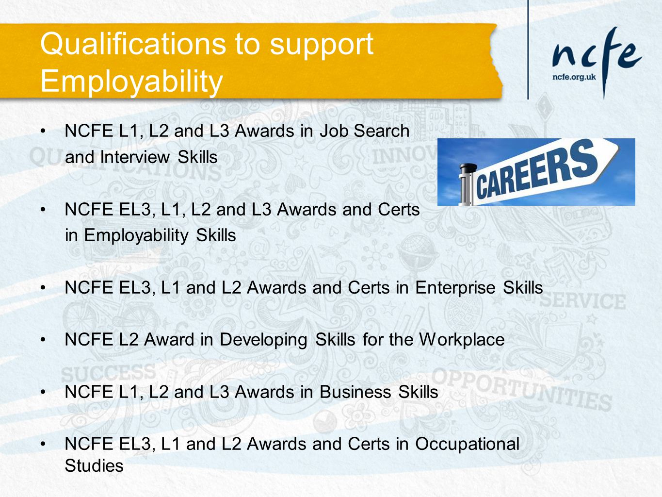 Qualifications to support Employability NCFE L1, L2 and L3 Awards in Job Search and Interview Skills NCFE EL3, L1, L2 and L3 Awards and Certs in Employability Skills NCFE EL3, L1 and L2 Awards and Certs in Enterprise Skills NCFE L2 Award in Developing Skills for the Workplace NCFE L1, L2 and L3 Awards in Business Skills NCFE EL3, L1 and L2 Awards and Certs in Occupational Studies