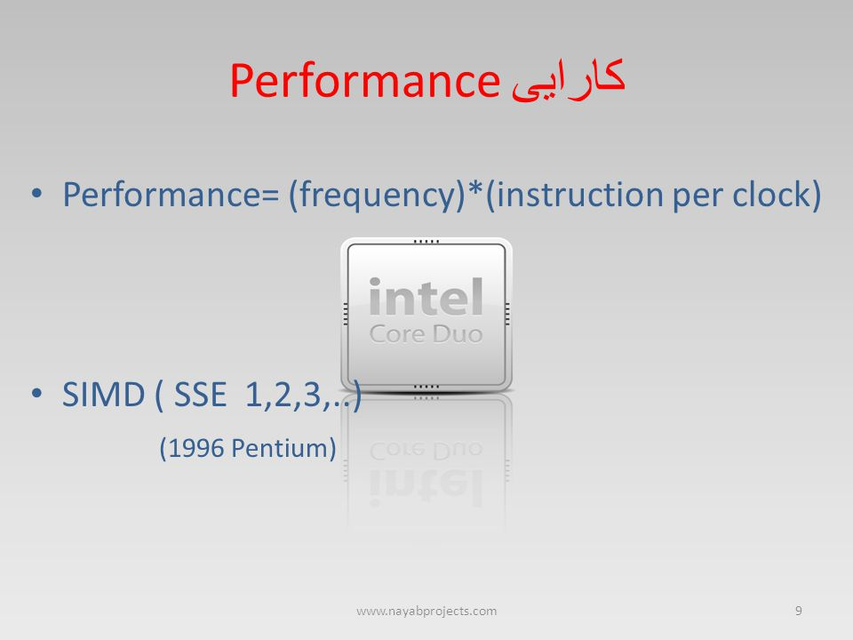 Performance کارایی Performance= (frequency)*(instruction per clock) SIMD ( SSE 1,2,3,..) (1996 Pentium) 9www.nayabprojects.com