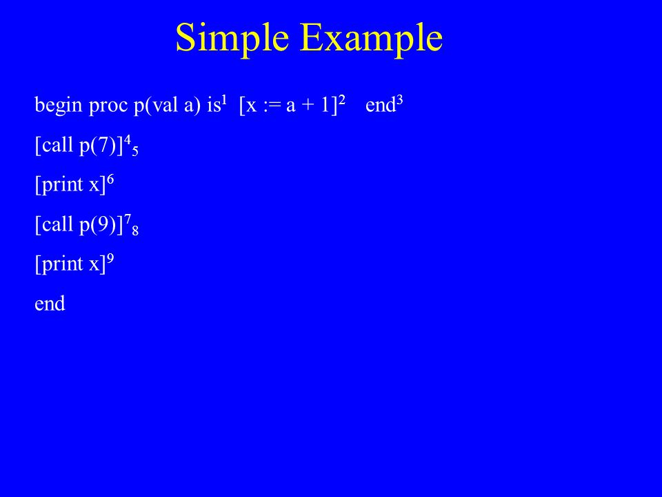 Simple Example begin proc p(val a) is 1 [x := a + 1] 2 end 3 [call p(7)] 4 5 [print x] 6 [call p(9)] 7 8 [print x] 9 end