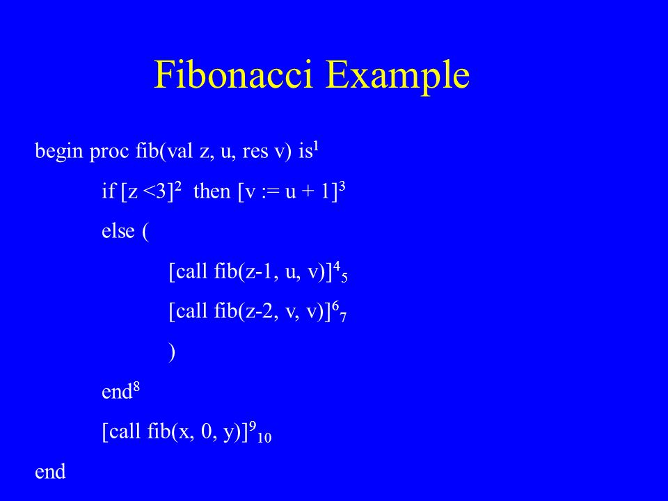 Fibonacci Example begin proc fib(val z, u, res v) is 1 if [z <3] 2 then [v := u + 1] 3 else ( [call fib(z-1, u, v)] 4 5 [call fib(z-2, v, v)] 6 7 ) end 8 [call fib(x, 0, y)] 9 10 end