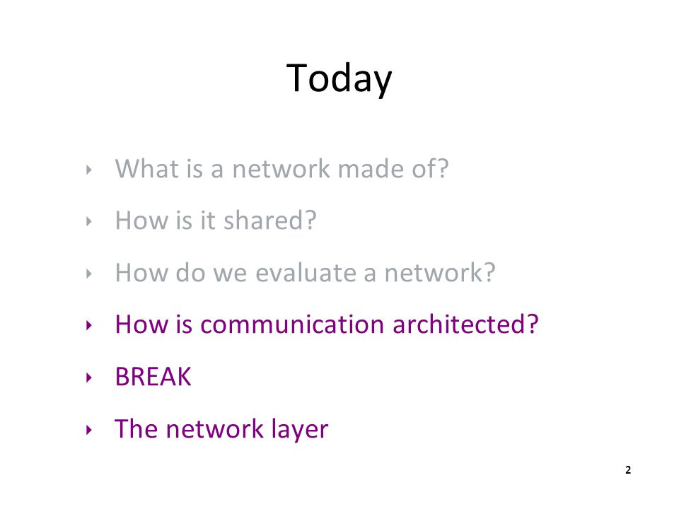 Today ‣ What is a network made of? ‣ How is it shared? ‣ How do we evaluate a network? ‣ How is communication architected? ‣ BREAK ‣ The network layer