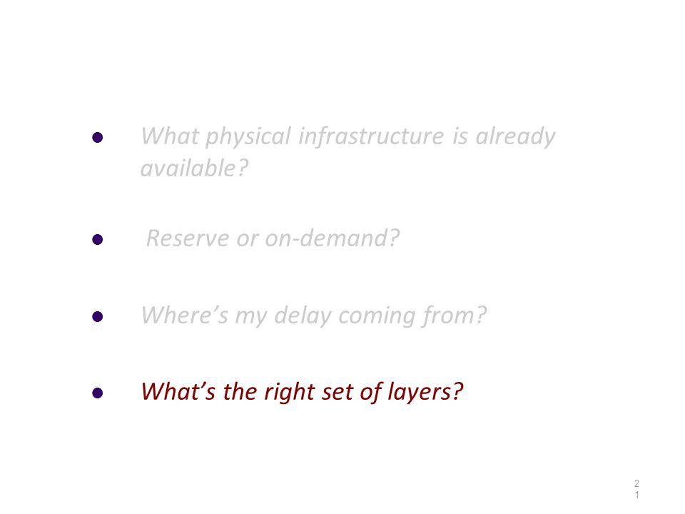 What physical infrastructure is already available? Reserve or on-demand? Where's my delay coming from? What's the right set of layers? 21