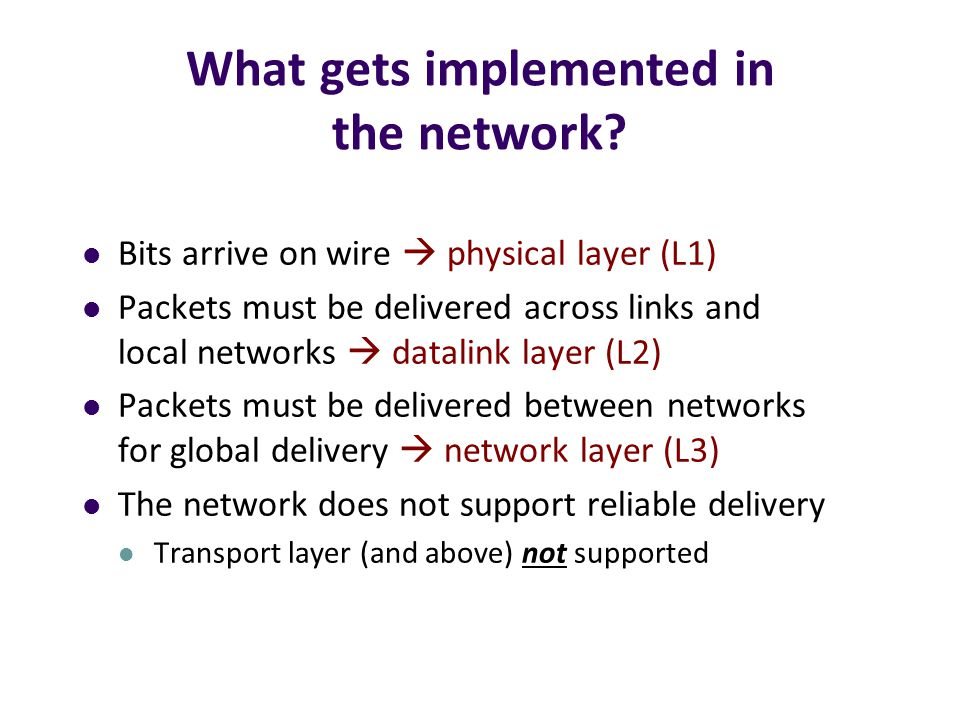 Simple Diagram Lower three layers implemented everywhere Top two layers implemented only at hosts Transport Network Datalink Physical Transport Network Datalink Physical Network Datalink Physical Application End system Switch