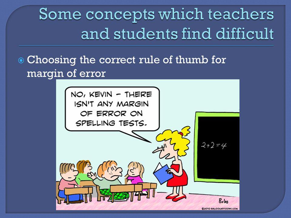  Choosing the correct rule of thumb for margin of error