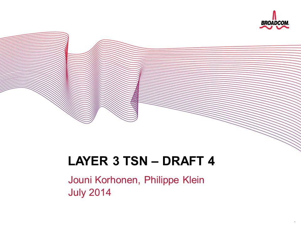 1 LAYER 3 TSN – DRAFT 4 Jouni Korhonen, Philippe Klein July 2014 LAYER 3 FOR TSN