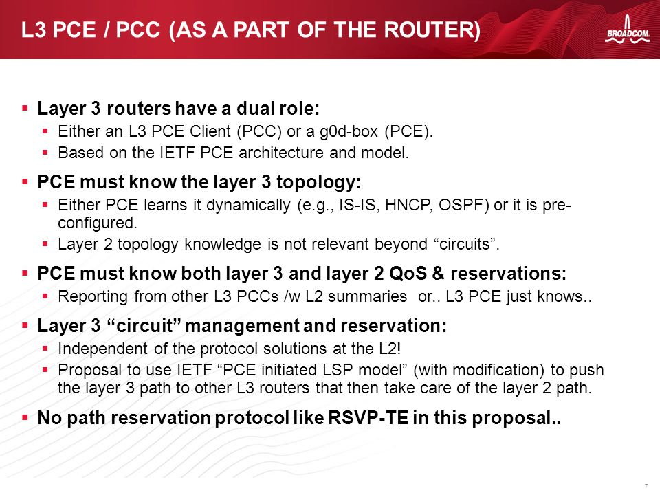 7  Layer 3 routers have a dual role:  Either an L3 PCE Client (PCC) or a g0d-box (PCE).