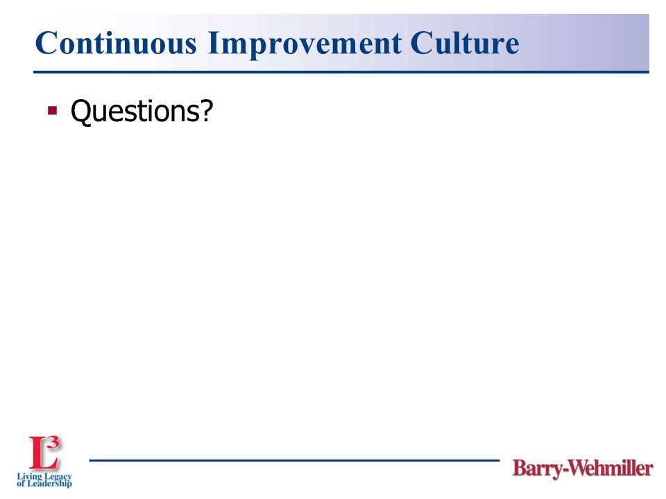 Continuous Improvement Culture  Questions