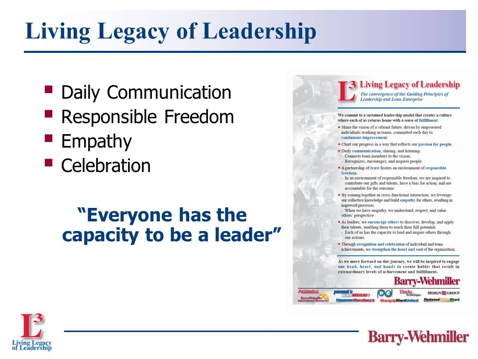  Daily Communication  Responsible Freedom  Empathy  Celebration Everyone has the capacity to be a leader Living Legacy of Leadership