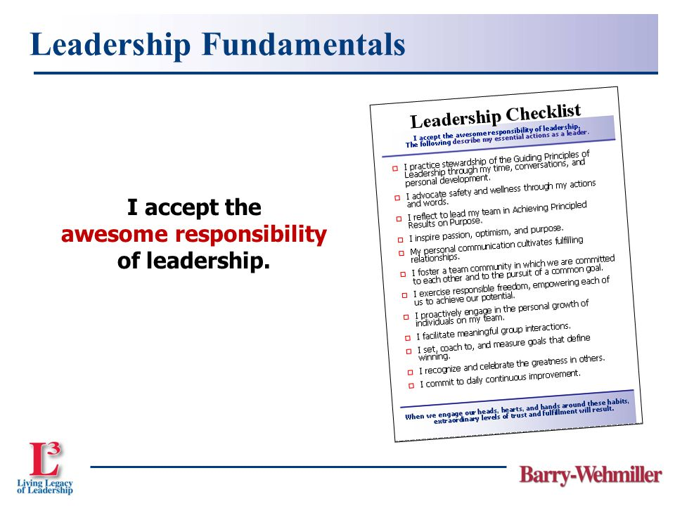 I accept the awesome responsibility of leadership. Leadership Fundamentals