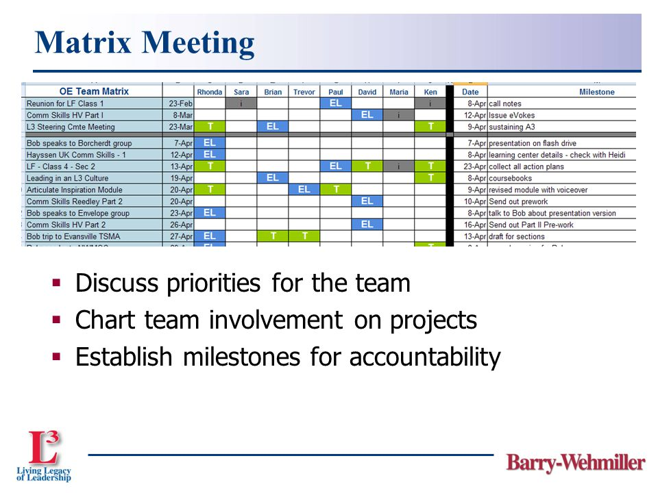  Discuss priorities for the team  Chart team involvement on projects  Establish milestones for accountability Matrix Meeting