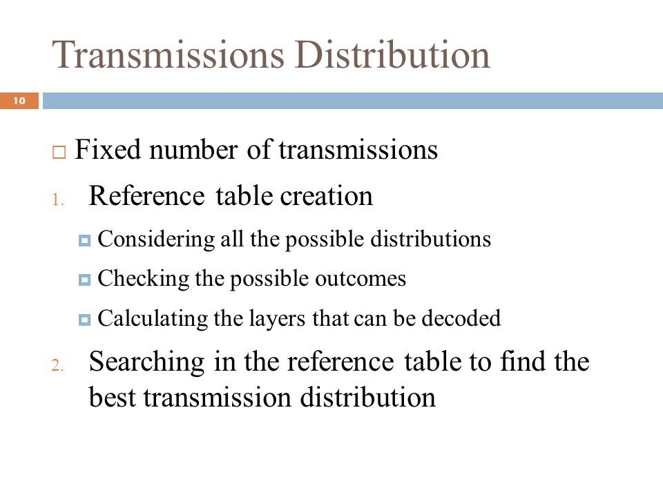Transmissions Distribution  Fixed number of transmissions 1. Reference table creation  Considering all the possible distributions  Checking the pos