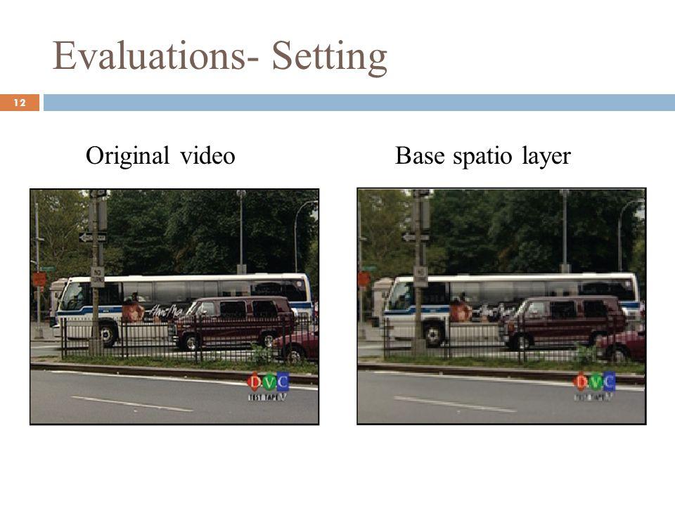 Evaluations- Setting Original video 12 Base spatio layer