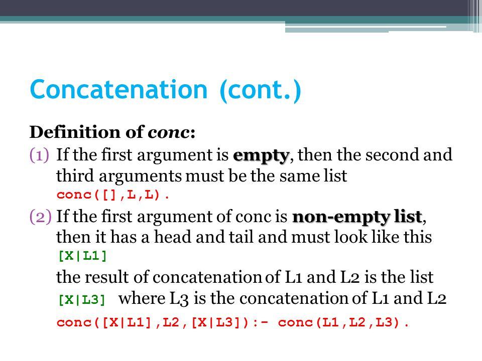 5 2.Concatenation (Example) conc([],L,L). conc([X|L1],L2,[X|L3]):- conc(L1,L2,L3).