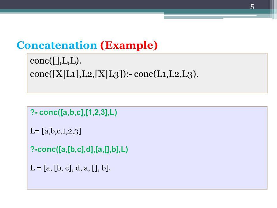 5 2. Concatenation (Example) conc([],L,L). conc([X|L1],L2,[X|L3]):- conc(L1,L2,L3).