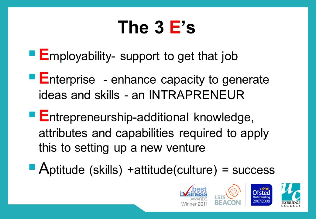 The 3 E's  E mployability- support to get that job  E nterprise - enhance capacity to generate ideas and skills - an INTRAPRENEUR  E ntrepreneurship-additional knowledge, attributes and capabilities required to apply this to setting up a new venture  A ptitude (skills) +attitude(culture) = success