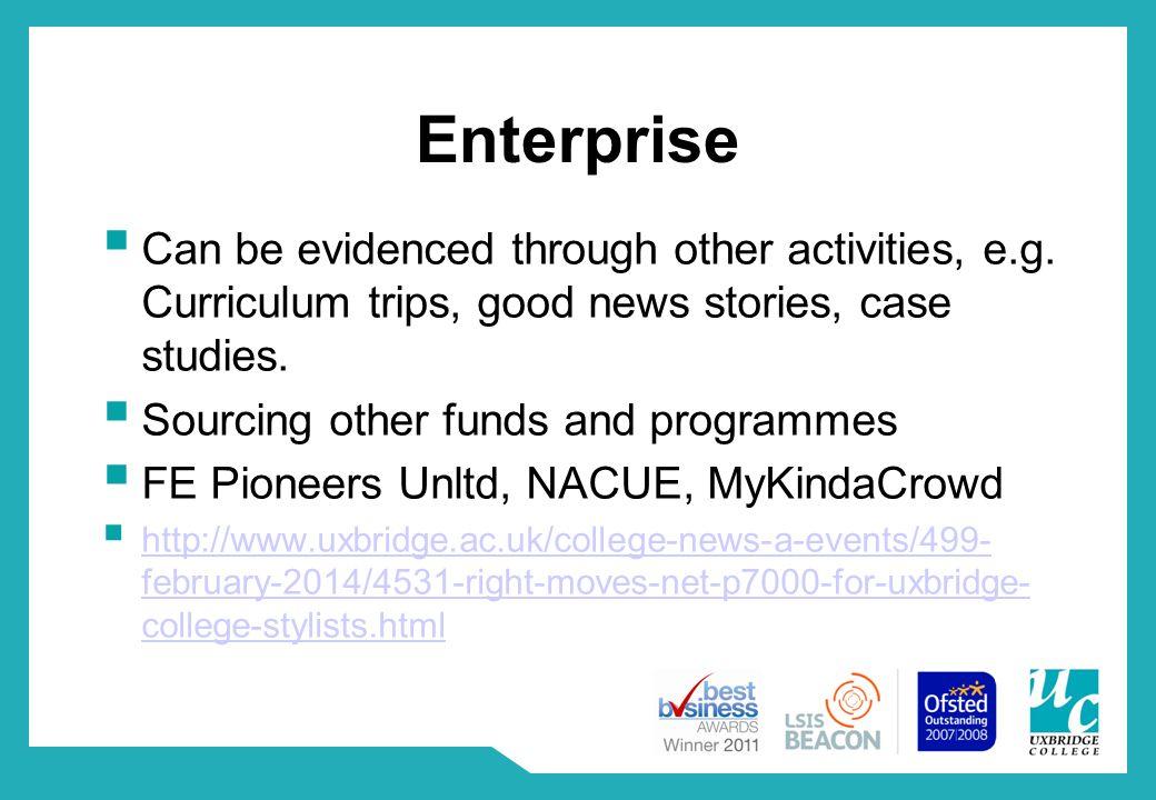 Enterprise  Can be evidenced through other activities, e.g.