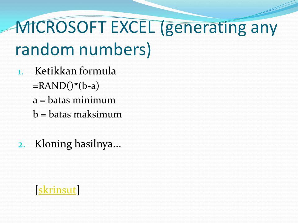 MICROSOFT EXCEL (generating integer random numbers) 1.