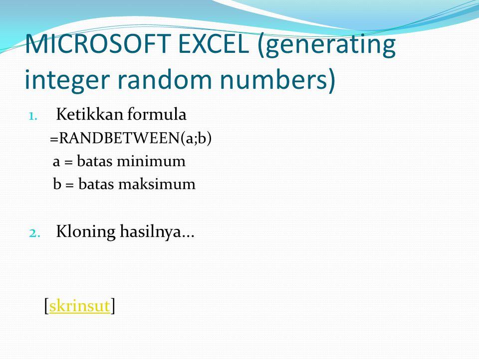 SPSS (sampling) 1.Entry data... [skrinsut]skrinsut 2.