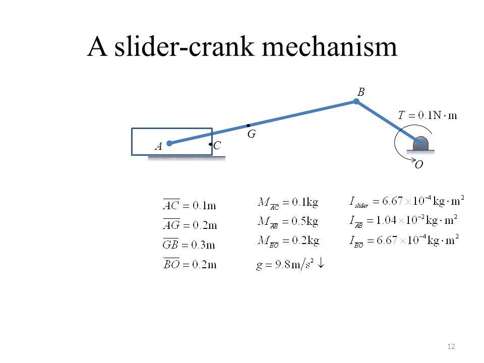 A slider-crank mechanism A B C O G 12