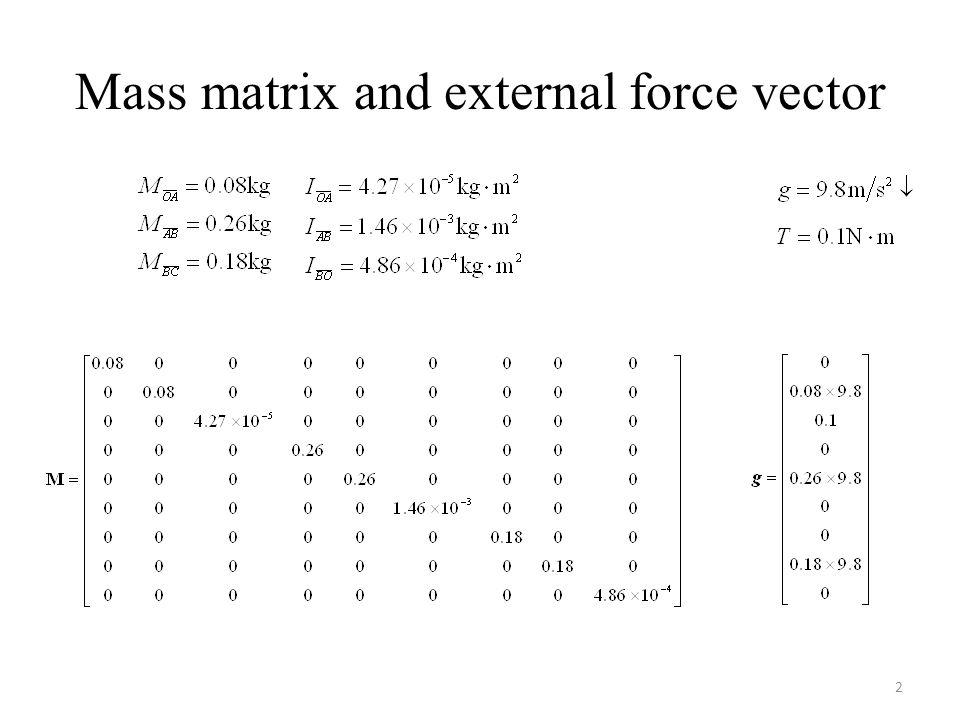 Mass matrix and external force vector 2
