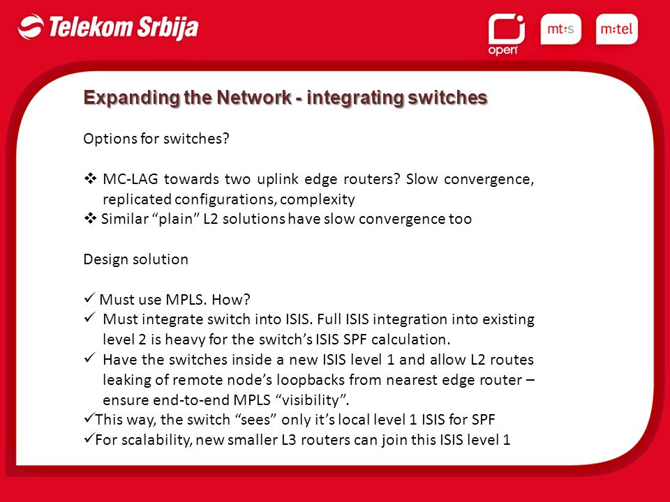 Expanding the Network - integrating switches Options for switches.