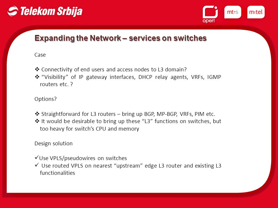 Expanding the Network – services on switches Case  Connectivity of end users and access nodes to L3 domain.