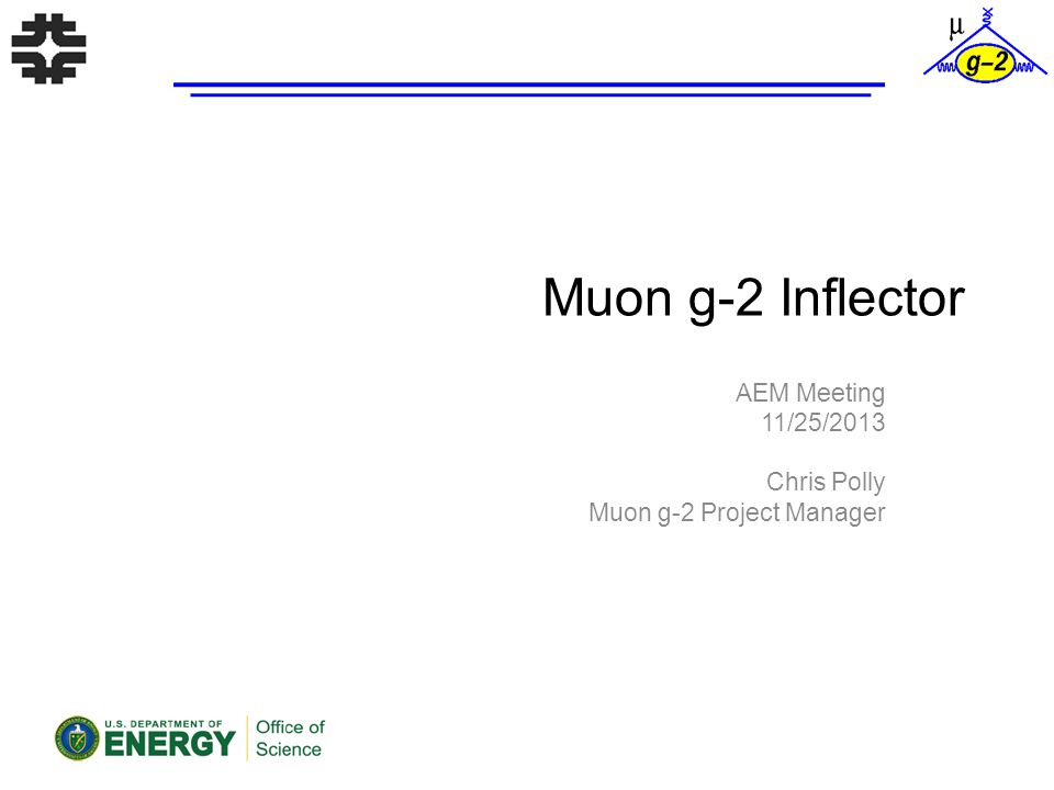 Muon g-2 Inflector AEM Meeting 11/25/2013 Chris Polly Muon g-2 Project Manager