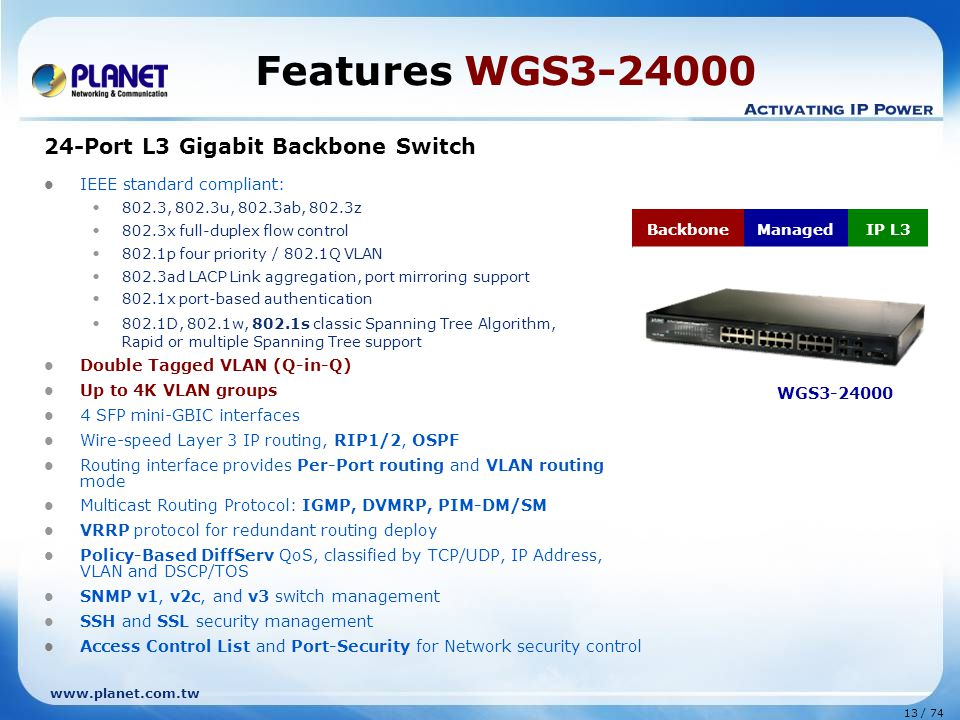 www.planet.com.tw 13 / 74 Features WGS3-24000 24-Port L3 Gigabit Backbone Switch IEEE standard compliant: 802.3, 802.3u, 802.3ab, 802.3z 802.3x full-duplex flow control 802.1p four priority / 802.1Q VLAN 802.3ad LACP Link aggregation, port mirroring support 802.1x port-based authentication 802.1D, 802.1w, 802.1s classic Spanning Tree Algorithm, Rapid or multiple Spanning Tree support Double Tagged VLAN (Q-in-Q) Up to 4K VLAN groups 4 SFP mini-GBIC interfaces Wire-speed Layer 3 IP routing, RIP1/2, OSPF Routing interface provides Per-Port routing and VLAN routing mode Multicast Routing Protocol: IGMP, DVMRP, PIM-DM/SM VRRP protocol for redundant routing deploy Policy-Based DiffServ QoS, classified by TCP/UDP, IP Address, VLAN and DSCP/TOS SNMP v1, v2c, and v3 switch management SSH and SSL security management Access Control List and Port-Security for Network security control WGS3-24000 BackboneManagedIP L3