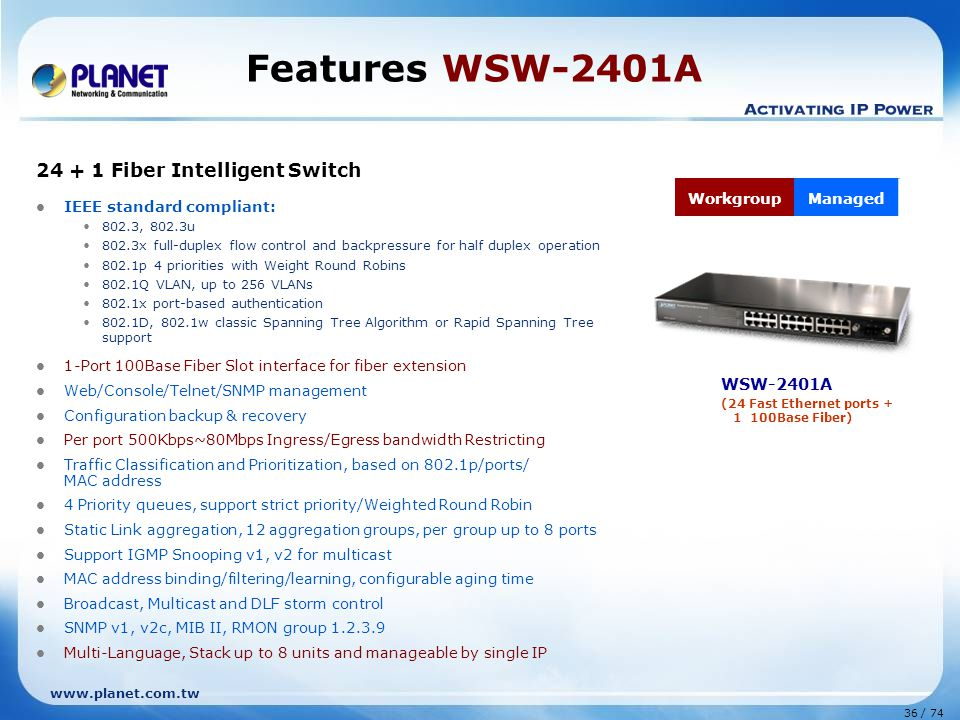 www.planet.com.tw 36 / 74 Features WSW-2401A 24 + 1 Fiber Intelligent Switch IEEE standard compliant: 802.3, 802.3u 802.3x full-duplex flow control and backpressure for half duplex operation 802.1p 4 priorities with Weight Round Robins 802.1Q VLAN, up to 256 VLANs 802.1x port-based authentication 802.1D, 802.1w classic Spanning Tree Algorithm or Rapid Spanning Tree support 1-Port 100Base Fiber Slot interface for fiber extension Web/Console/Telnet/SNMP management Configuration backup & recovery Per port 500Kbps~80Mbps Ingress/Egress bandwidth Restricting Traffic Classification and Prioritization, based on 802.1p/ports/ MAC address 4 Priority queues, support strict priority/Weighted Round Robin Static Link aggregation, 12 aggregation groups, per group up to 8 ports Support IGMP Snooping v1, v2 for multicast MAC address binding/filtering/learning, configurable aging time Broadcast, Multicast and DLF storm control SNMP v1, v2c, MIB II, RMON group 1.2.3.9 Multi-Language, Stack up to 8 units and manageable by single IP WSW-2401A (24 Fast Ethernet ports + 1 100Base Fiber) WorkgroupManaged