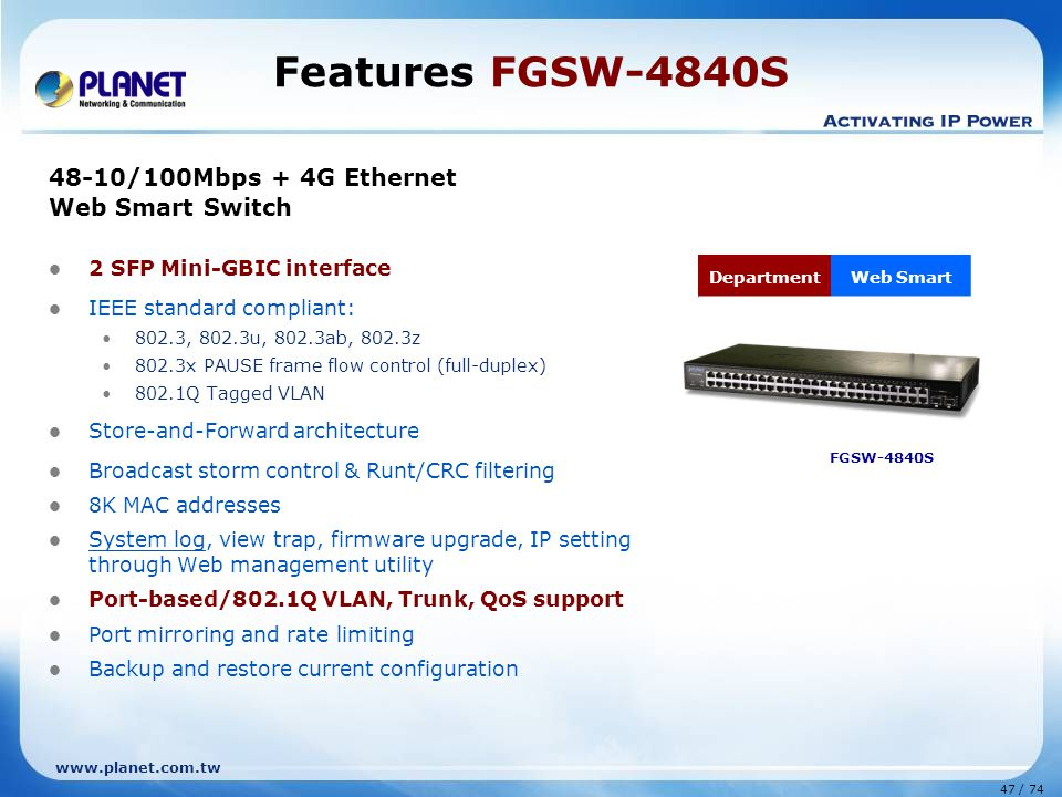 www.planet.com.tw 47 / 74 Features FGSW-4840S 48-10/100Mbps + 4G Ethernet Web Smart Switch 2 SFP Mini-GBIC interface IEEE standard compliant: 802.3, 802.3u, 802.3ab, 802.3z 802.3x PAUSE frame flow control (full-duplex) 802.1Q Tagged VLAN Store-and-Forward architecture Broadcast storm control & Runt/CRC filtering 8K MAC addresses System log, view trap, firmware upgrade, IP setting through Web management utility Port-based/802.1Q VLAN, Trunk, QoS support Port mirroring and rate limiting Backup and restore current configuration FGSW-4840S DepartmentWeb Smart