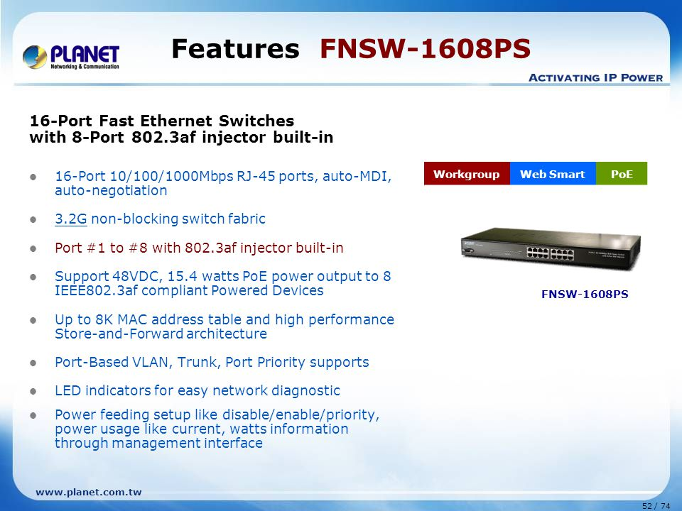 www.planet.com.tw 52 / 74 Features FNSW-1608PS 16-Port Fast Ethernet Switches with 8-Port 802.3af injector built-in 16-Port 10/100/1000Mbps RJ-45 ports, auto-MDI, auto-negotiation 3.2G non-blocking switch fabric Port #1 to #8 with 802.3af injector built-in Support 48VDC, 15.4 watts PoE power output to 8 IEEE802.3af compliant Powered Devices Up to 8K MAC address table and high performance Store-and-Forward architecture Port-Based VLAN, Trunk, Port Priority supports LED indicators for easy network diagnostic Power feeding setup like disable/enable/priority, power usage like current, watts information through management interface WorkgroupWeb SmartPoE FNSW-1608PS