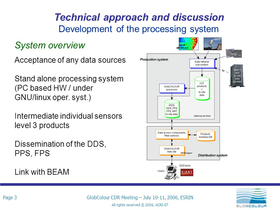 Page 4GlobColour CDR Meeting – July 10-11, 2006, ESRIN All rights reserved © 2006, ACRI-ST Technical approach and discussion Development of the processing system GLOBCOLOUR processing system Main modules:  Pre-processing  Spatial binning  Temporal binning  Merging