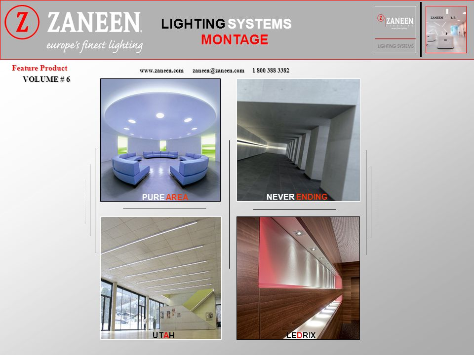 L3 CATALOG LIGHTING SYSTEMS NEW PURE AREA TRIMLESS LOOK WITH A 4 SIDED LIPPED DIFFUSER FLUORESCENT OR LED BACKLIGHT OPTIONS PURE AREA_