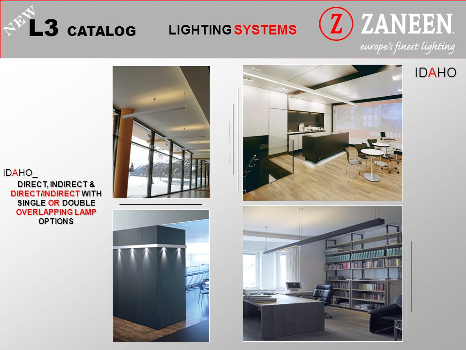 L3 CATALOG LIGHTING SYSTEMS NEW IDAHO DIRECT, INDIRECT & DIRECT/INDIRECT WITH SINGLE OR DOUBLE OVERLAPPING LAMP OPTIONS IDAHO_