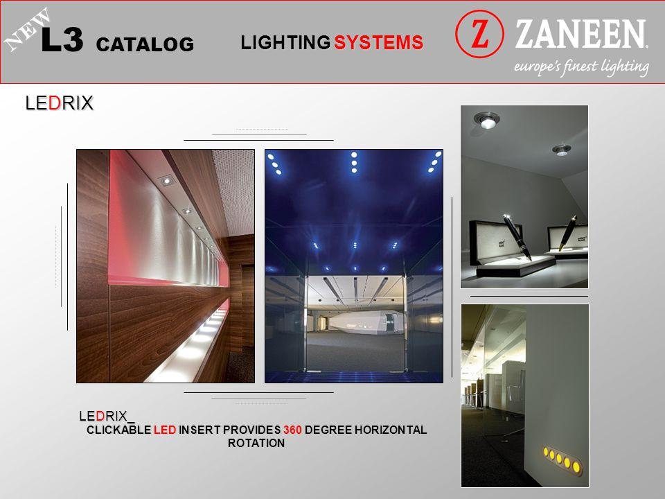 L3 CATALOG LIGHTING SYSTEMS NEW LEDRIX CLICKABLE LED INSERT PROVIDES 360 DEGREE HORIZONTAL ROTATION LEDRIX_