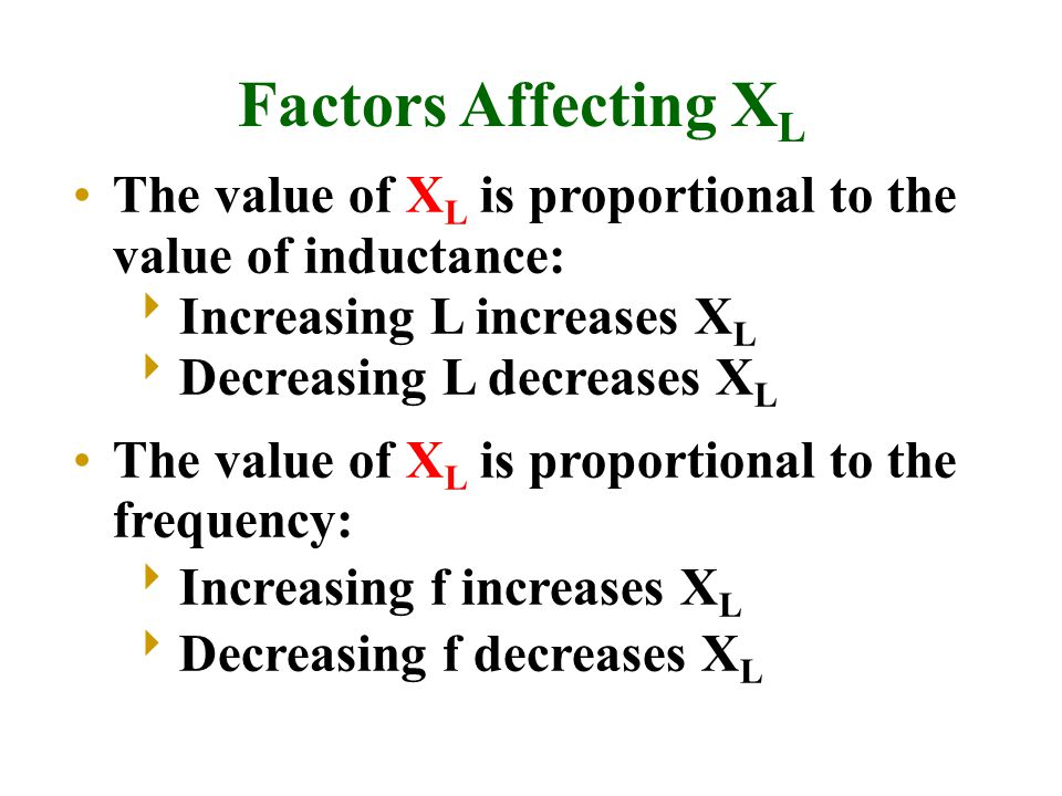 The value of X L is proportional to the value of inductance:  Increasing L increases X L  Decreasing L decreases X L The value of X L is proportional to the frequency:  Increasing f increases X L  Decreasing f decreases X L Factors Affecting X L