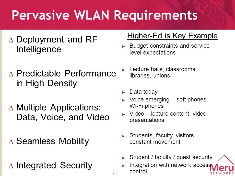 7 Pervasive WLAN Requirements  Deployment and RF Intelligence  Predictable Performance in High Density  Multiple Applications: Data, Voice, and Video  Seamless Mobility  Integrated Security ► Budget constraints and service level expectations ► Lecture halls, classrooms, libraries, unions.